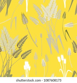 Wheat grains seamless pattern. vector illustration on yellow background