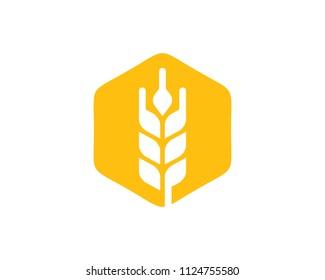 Wheat Hexagon Icon Logo Design Element