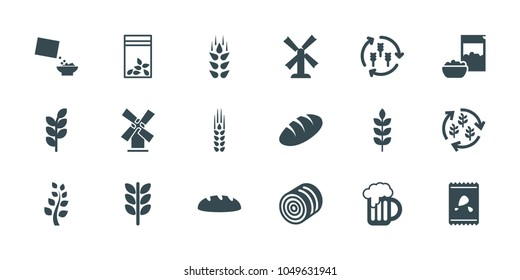 Wheat icons. set of 18 editable filled wheat icons: wheat, harvest, hay, bread, mill, seed bag, cereal