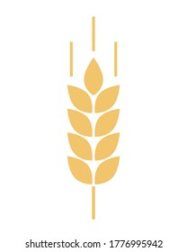Wheat logo. Icon bakery. Spike wheat. Bread grain isolated on background. Stalk oat, barley, corn, rye, malt, bran, millet, maize, rice. Harvest seed for flour. Silhouette ear of wheat. Sign crop
