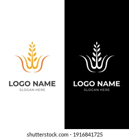wheat logo vector flat yellow and white color style