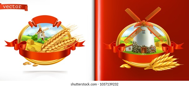 Wheat and old mill. 3d vector label