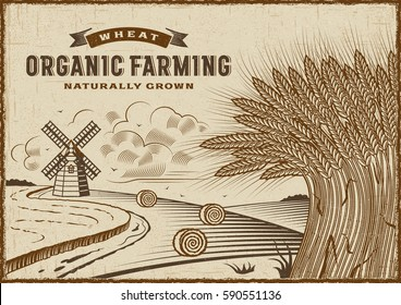 Wheat Organic Farming Landscape. Editable EPS10 vector illustration in retro woodcut style with clipping mask and transparency.