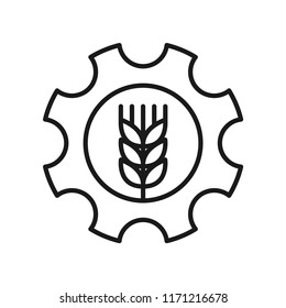 Wheat place into gear, using for icon or logo. Simple design. Isolate on white background. Line vector.