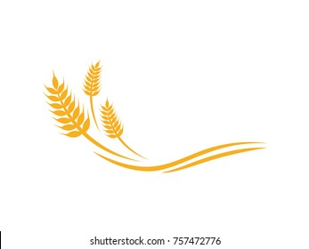 wheat rice bakery food farm agriculture logo