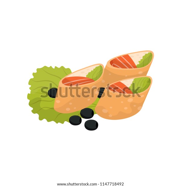 Wheat roll with cream cheese and salmon, banquet snack vector Illustration on a white background