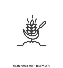 Wheat and scythe line icon. linear style sign for mobile concept and web design. Sickle and wheat outline vector icon. Farming, harvest symbol, logo illustration. Vector graphics