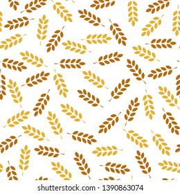 Wheat seamless pattern. Vector seamless pattern with silhouettes of wheat ears. Whole grain, natural, organic background for bakery package, bread products. Corn texture. - Vector illustration