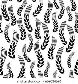 Wheat seamless pattern. Vector seamless pattern with silhouettes of wheat ears. Whole grain, natural, organic background for bakery package, bread products. Vector illustration. Corn texture.
