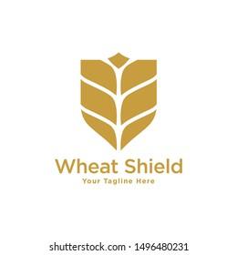 Wheat and Shield logo. Grain wheat logo design. Wheat emblem.