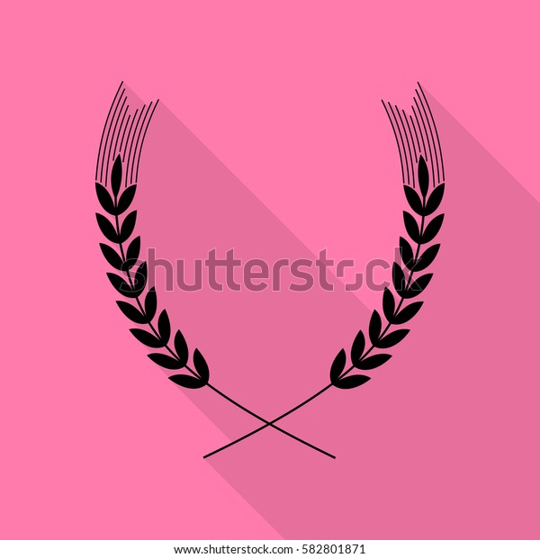 Wheat sign illustration. Black icon with flat style shadow path on pink background.
