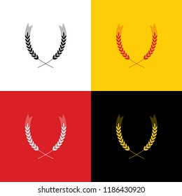 Wheat sign illustration. Spike. Spica. Vector. Icons of german flag on corresponding colors as background.