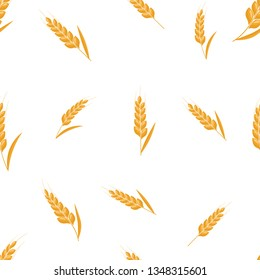 Wheat spike seamless background. Organic Ear grain textured pattern textile. Flat Vector illustration.