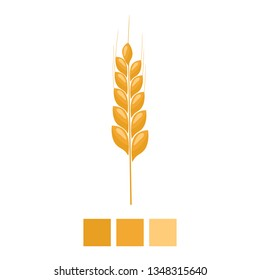 Wheat spike yellow isolated on white background. Organic Ear grain with flat and solid color design. Vector Illustration.