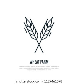 Wheat spikelets line icon. Wheat farm symbol. Liner style. Vector illustration.