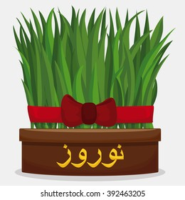 "Wheat sprouts growing in a flowerpot (Sabzeh in persian tradition of Haft Seen) with golden calligraphy for ""Nowruz"" or Persian New Year."