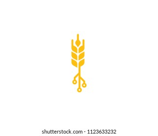 Wheat Tech Icon Logo Design Element