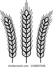 Wheat. Vector outline icon isolated on white background.