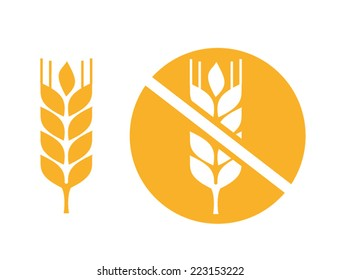 wheat yellow gluten free grain vector icon