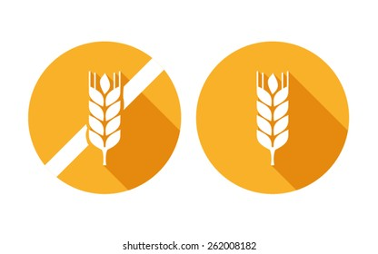 wheat yellow grain gluten free vector icon on white background