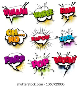 whee cool kapow pop set hand drawn pictures effects template comics speech bubble halftone dot background pop art style. Comic dialog cloud, text pop-art. Idea conversation sketch explosion.