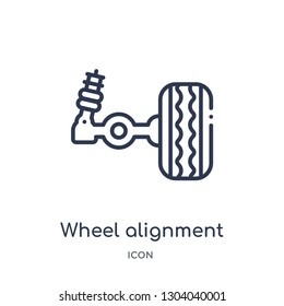 wheel alignment icon from transportation outline collection. Thin line wheel alignment icon isolated on white background.