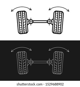 Wheel alignment line icon. Car suspension angles adjustment. Axle control symbol. Adjustable stroke width.