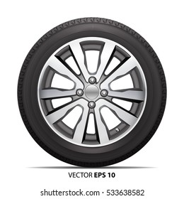 Wheel alloy tire radial for car on white background vector illustration.