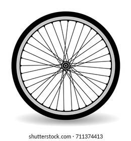 The wheel of a bicycle. Black silhouette on white background.
