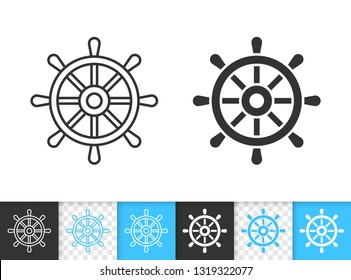 Wheel black linear and silhouette icons. Thin line sign of ship helm. Nautical outline pictogram isolated on white, color, transparent background. Vector Icon shape. Boat Rudder simple symbol closeup