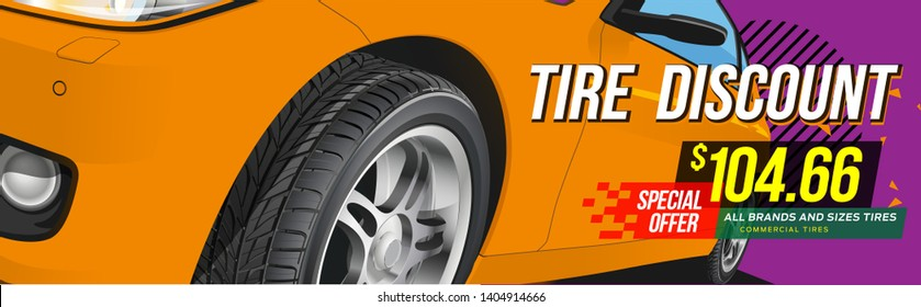 Wheel car advertisement discount. Black rubber tire. Realistic vector shining disk car wheel tyre. Information. Store. Action.Landscape poster, digital banner, flyer, booklet, brochure and web design.