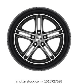 Wheel of car isolated on white or automobile tire with metal disk. Rubber protector for sport or race. Tire for auto vehicle. Bus or lorry, truck circle. Repair and vulcanization, maintenance service