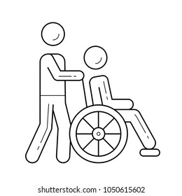 Wheel chair with a disable person running by volunteer vector line icon isolated on white background. Nurse with a wheel chair line icon for infographic, website or app. Icon designed on a grid system