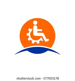wheel chair disabled icon vector with gear logo design