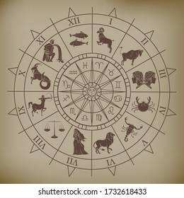 Wheel chart with zodiac signs on ancient paper, astrology and numerology