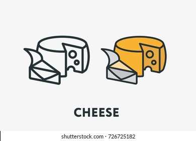 Wheel of Cheese Types Melted Dairy Product Minimal Flat Line Outline Colorful and Stroke Icon Pictogram