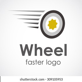 Wheel circle run speed fast automotive abstract vector logo design template workshop business car icon transport mechanic company symbol concept