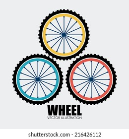 Wheel design over white background, vector illustration