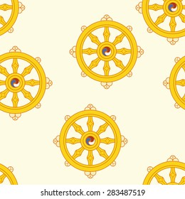 Wheel of Dharma Pattern Dharmachakra Pattern Buddhism.