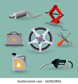 Wheel disk and car service set work tools. Adjustable jack, battery, canister of gasoline, exhaust pipes, wrench screwdriver, petrol handle. Instruments for repairing car vector illustration