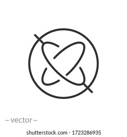 wheel or disk gyroscope icon, spin rapidly, stability in navigation systems, automatic pilots stabilizers sign, thin line web symbol on white background - editable stroke vector illustration eps10