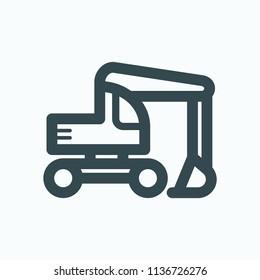 Wheel excavator icon, heavy excavator vector icon