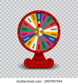 Wheel of Fate, 3D roulette vector illustration on transparent background.