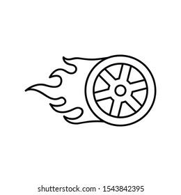 Wheel in Fire flame logo design vector template. Car logo.