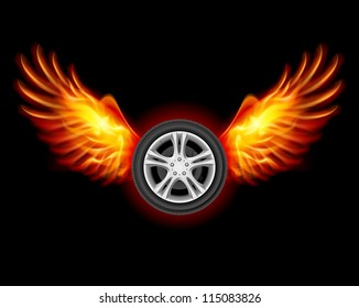 Wheel with fire wings. Illustration on black