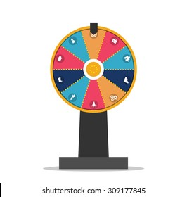 Wheel of fortune with business icons set, vector illustration