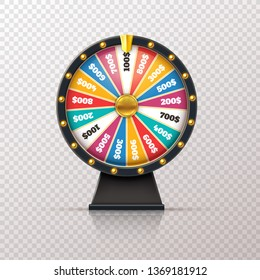 Wheel fortune. Casino prize lucky game roulette, win jackpot money lottery circle. Chance winner gamble wheel 3d realistic vector concept