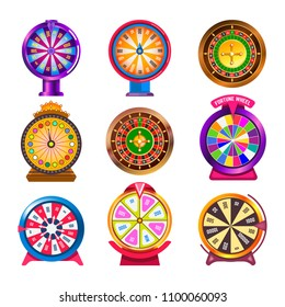 Wheel of fortune casino roulette vector icons