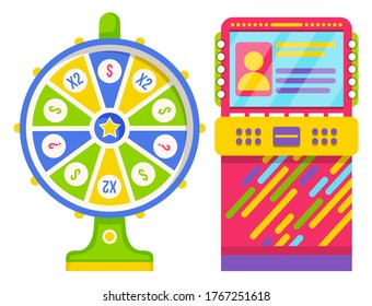 Wheel of fortune with green and blue sectors and numbers. Colorful slot machine isolated on white background. Game of chance, retro arcades, lottery, gambling and casino concept vector illustration