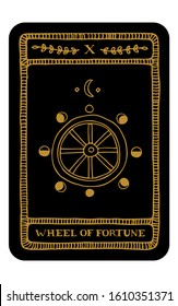 Wheel of Fortune. Hand drawn major arcana tarot card template. Tarot vector illustration in vintage style with mystic symbols, moon and line art stars. Witchcraft concept for tarot readers